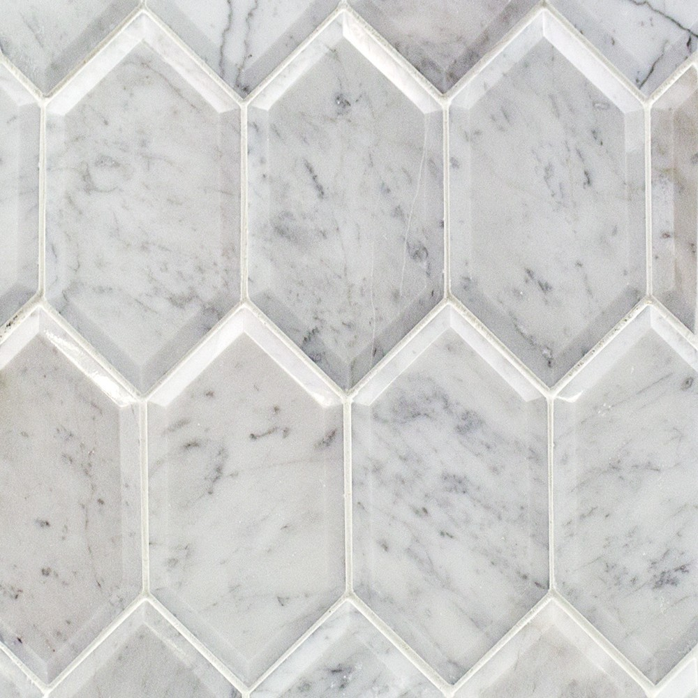 Elongated Beveled Hexagon White Carrara Tile In Style Store